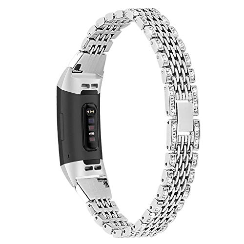 XIALEY Rhinestone Jewelry Band Compatible with Fitbit Charge 3/Charge 4, Women Strap Bling Glitter Metal Wrist Strap Replacement Band for Charge 3/Charge 4,Silver