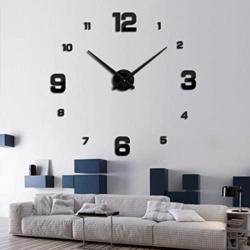 BBZZ Relojes de pared sin marco, no hace tictac, 3D, silenciosos, grandes, fáciles de leer, para salón, dormitorio, oficina, escuela, color plateado