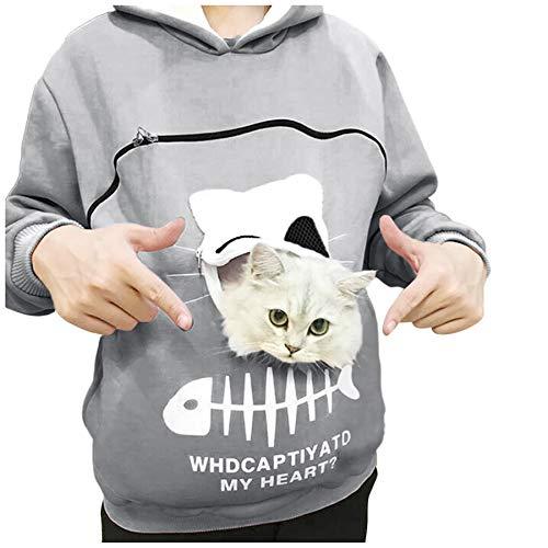 Sudadera con Capucha para Mujer Tops Creativos con Capucha y Bolsa de Animales Llevar Gato Perro Blusa Transpirable Tops Blusa Sweatshirt 2021 (Gris, 3XL)