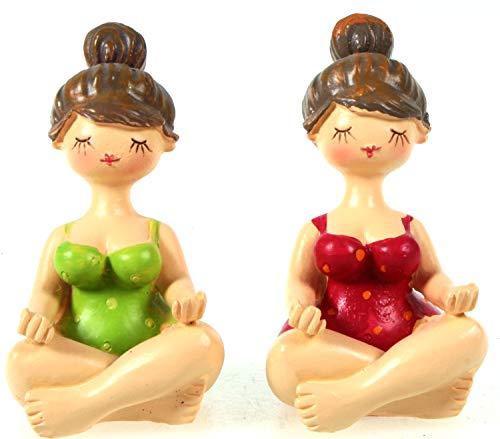 Schick-Design 2X Yoga Dame im Badeanzug grün und rot sitzend 7cm Figur Mädchen Rubensfrau mollige Dame Badenixe Dicke Frau Badezimmer Pilates Joga