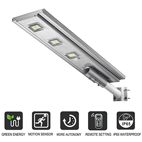 LOVUS Commercial Solar Street Lights, 30000LM Solar Street Lamp with Motion Sensor and Light Control and Remote Control, 6000K Super Bright Light, ST300-033