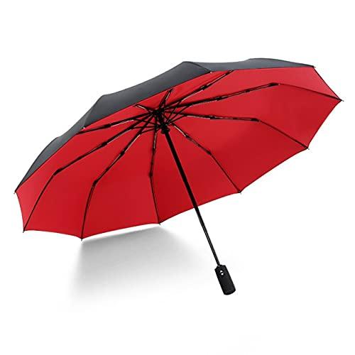 Ten Bone - Paraguas plegable automático para hombre y mujer, coche de lujo, gran cortavientos, pintura negra de lluvia
