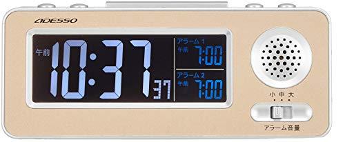 ADESSO(アデッソ)目覚まし時計振動デジタル電波時計ダブルアラームスヌーズ機能付きゴールドMG-97