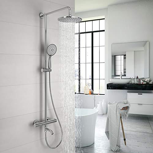Duschset Duschsystem Thermostat Duscharmatur Regenduschset mit kopfbrause Duschstange Handbrause Duschsäule, Material Chrom, 3 Wasserauslassmodi (Umweltfreundlich)