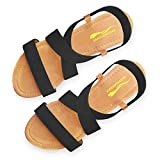 DAYDAYGO Sandals for Women │ Cute Comfortable Flat Sandals with Elastic Strap│Durable Slip On Womens Sandals Ladies Boho Cushion Shoes for Summer Fashion Casual (Black, Size 6)