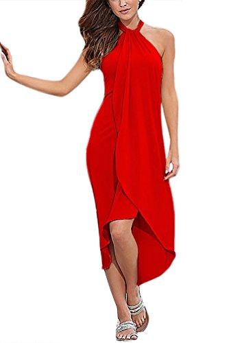 Vestidos Verano Mujer Vestidos Esencial De Largos Playa Elegantes Sin Mangas Atado Al Cuello Casual Color Solido Irregular Asimetricas Vestido Largo Ropa De Playa para Bikini Cover Up
