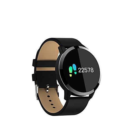KuWFi Smart-Armband, 2,4 cm (0,95 Zoll) OLED, IP67 wasserdicht, unterstützt Herzfrequenzmessung, Bluetooth, Smartwatch für Apple, Huawei, iOS, Android, Schwarz