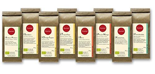 Tee Geschenkset Probierset Biotee Quertee® Nr. 2 - 8 x 25g Bio Tee - Tee Probierset - Tee Geschenk - 200 g Tee zum Probieren