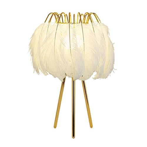 Hong Yi Fei-Shop lámpara de mesita Lámpara de Mesa Deco de Plumas Blancas Lámpara de Mesa de Moda al Lado con Soporte de Metal Dorado for el Dormitorio Niños cumpleaños de Boda Luz Nocturna