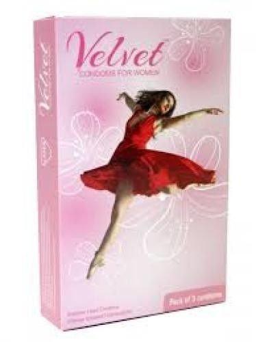 Velvet Condoms for Women, gefühlsechte Frauenkondome aus Latex - einfache Handhabung - One Size (passt fast jedem Mann und jeder Frau), 1 x 3 Stück