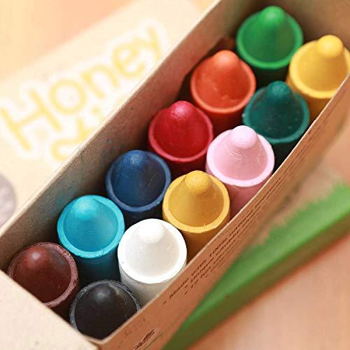 Honeysticks100%純粋な蜜蝋クレヨン天然、非毒性、幼児、子供および子供のために安全、1年間プラス12パック