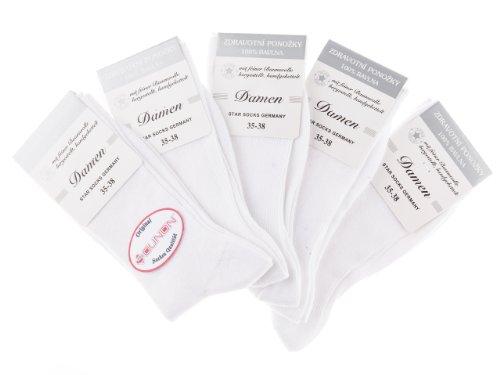 10 Paar Damen Socken ohne Gummi (100 prozent Baumwolle) von SOUNON® - Weiss, Groesse: 39-42