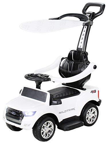 Actionbikes Motors Kinder Rutschauto Ford Ranger - Lizenziert - 3 in 1 - Schubstange - Sonnendach - Schiebestange - Rutscher - Laufrad - Lauflernwagen - Spielzeug - ab 1 Jahr Kinderauto (Weiß)