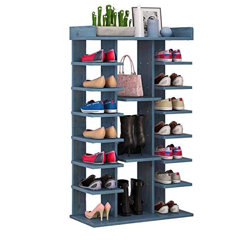 RoomTalks Wood Tall Shoe Rack for Entryway/Closets/Back of Door, 7 Tier Large Shoe Stand Tower, Vintage Home Shoes Organizer Shelf (Blue)