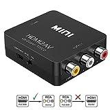 Sisthirth HDMI a RCA, adaptador de HDMI a AV, 1080P HDMI a AV 3RCA CVB Adaptador de audio y video compuesto con soporte PAL / NTSC con cable de carga USB