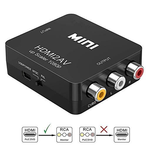 Sisthirth Adattatore da HDMI a RCA, da HDMI ad AV, da 1080P HDMI a AV 3RCA CVB Adattatore convertitore audio video composito con supporto PAL/NTSC con cavo di ricarica USB (Nero)