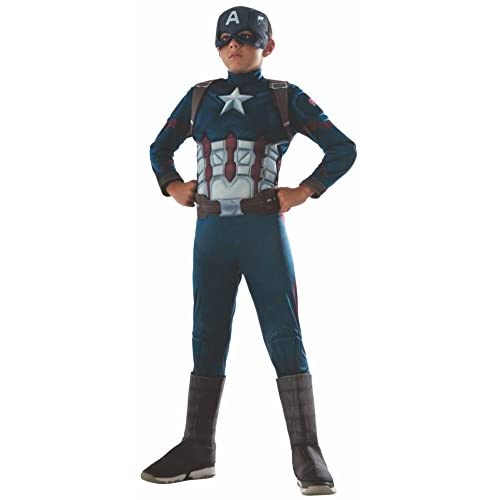 Rubie's IT620591-L - Costume Capitan America con Muscoli, taglia L (per 8-10 anni)