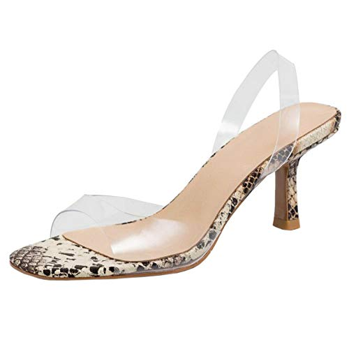 Lydee Mujer Moda Zapatos Verano Kitten Heels Slip On Transparent Sandalias Peep Toe Noche Partido Zapatos Slingback Snake Beige Talla 37