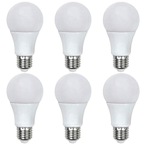 Asencia AN-03662 60 Watt Equivalent A19 General Purpose LED Light Bulb, 6-Pack, Non-Dimmable, Soft White (2700K)