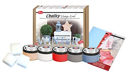 Viva Decor®️ Chalky Vintage-Look Set (Winter-Set 10-teilig) dekorative Lasuren - Vintage Kreidefarbe für Shabby Chic - Chalk Paint für Innen und Außen - Made in Germany