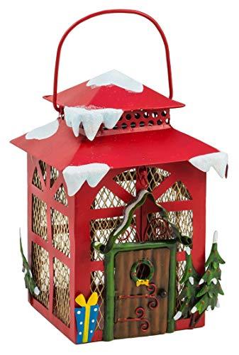 Fountasia Leuke Kerst Elf Huis Lantaarn Metalen Tuin Ornament Perfect Voor Elf Tuinen