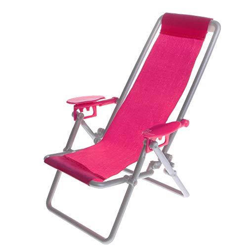 CIJK Plegable reclinable, Silla Acolchada Textoline Playa Tumbona Cama para el jardín y Camping al Aire Libre