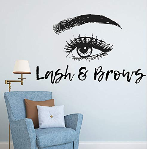 Extensions De Cils Wall Sticker Lash Et Sourcils Vinyle Wall Decal Salon De Beauté Décoration Sourcils Maquillage Maquillage Art Mural 66X42Cm