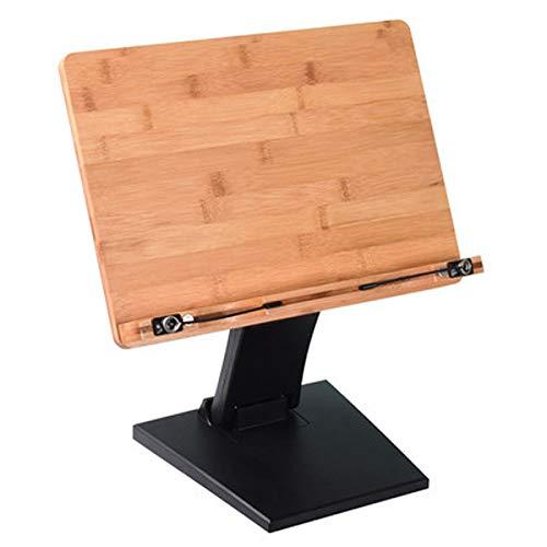 QueensCity ブックスタンド 本立て 書見台 譜面台 高さ&角度調整機能 ブックストッパー 楽譜スタンド 読書台 木製 (ブラック)