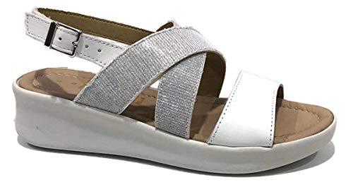 AGORA Art MIA09 Sandales pour femme avec sangle en cuir véritable et boucle blanche, argentées, confortables, fabriquées en Italie - Blanc - Blanc, 40 EU EU