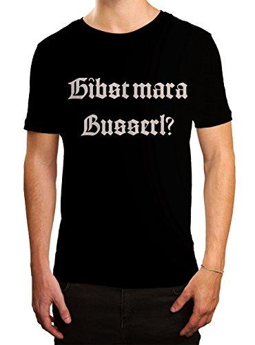 Oktoberfest Wiesn Premium T-Shirt | Dirndl | Gibst mar a Busserl? | Tracht | Herren | Shirt, Farbe:Schwarz (Deep Black L190);Größe:4XL