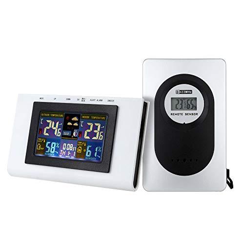 KKmoon Multifuncional externo/interno colorido LCD medidor de umidade digital de temperatura com despertador Termômetro sem fio Higrômetro Calendário de tendência de temperatura Alarme Nível de con