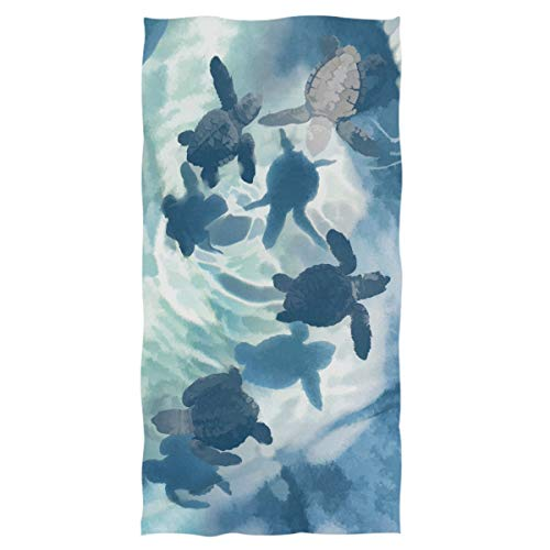 Pfrewn Turtles Underwater Hand Towels 16x30 in, Ocean Sea Turtle Animal Swimming Thin Bathroom Towel, Ultra Soft Highly Absorbent Small Bath Towel Bathroom Decor