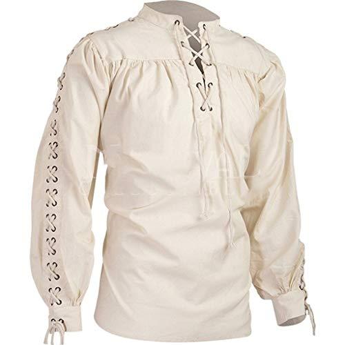 Luckycat Gtico Camisa con Cordones renacentista Medieval Tnica Medieval Traje Caballero Viking Guerrero Camiseta con Cordones para Hombres Disfraz de Pirata de la Edad Media