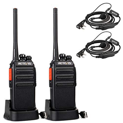 Retevis RT24V Freenet Funkgeräte 149 MHz Lizenzfrei, 0,5 W 6 Kanäle Professionelle Funkgerät Set, Wiederaufladbares Walkie Talkie mit Headset und USB-Ladestation (1 Paar, Schwarz)