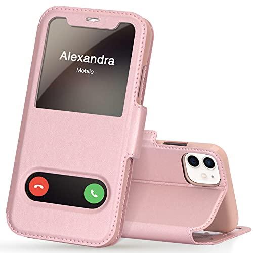 FYY iPhone 11 Handyhülle,iPhone 11 Hülle 2019,Premium PU Lederhülle Flip Leder Handytasche mit [View-Fenster]& Magnetverschluss für Apple iPhone 11 6.1'' Tasche,Rosa