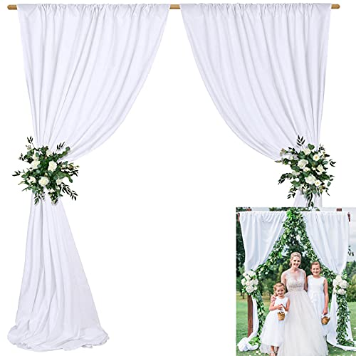 10 x 10 ft White Polyester Backdrop Background Drapes Curtains Panels- Elegant Backdrop Curtain Birthday Party Events Wedding Decoration
