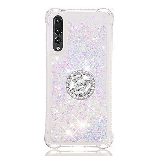 FAWUMAN Funda Huawei P20 Pro TPU Silicona Purpurina Carcasa,Funda para teléfono móvil de Arena movediza líquida en Forma de corazón con Base de Anillo de Diamantes (Color)