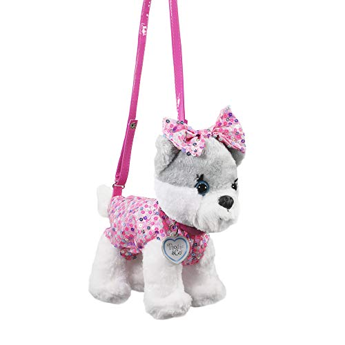 Poochie And Co Girls Plush Handbag (White Pom with Pink Confetti Sequins and Bow)
