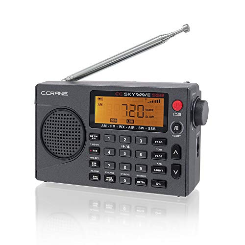 C. Crane CC Skywave SSB AM, FM, Shortwave, NOAA Weather + Alert, Scannable VHF Aviation Band and Single Side Bands Small Battery Operated Portable Travel Radio