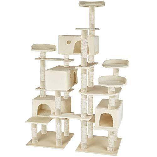 TecTake 800511 XXL Katzen Kratzbaum | Stämme mit Sisalseil umwickelt | 214 cm hoch - Diverse Farben (Beige | Nr. 402805)