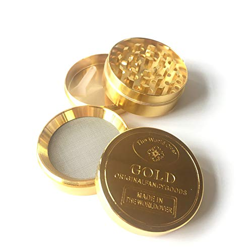 """Gold Chrome Herb Grinder w/Pollen Scraper by Milgar – Zinc with 4 Layers– 1.6"""" Smellproof/Magnetic – 28 Diamond Shape…"""