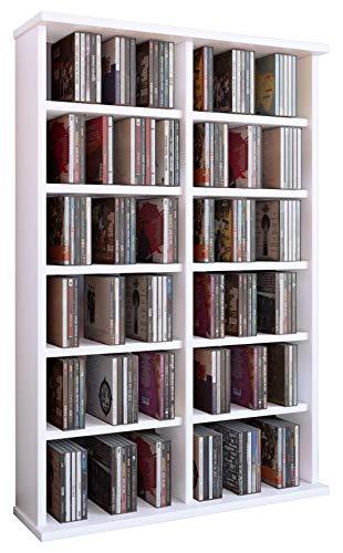 VCM Ronul-Torre para CD/DVD, para 300 CDs, sin Puerta de Cristal, Color Blanco, Madera