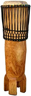 """African Hand-carved Ngoma Drum - 11"""" X 42"""" - Congo Style"""
