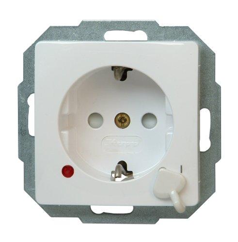 Kopp 136702010 Schutzkontakt-Steckdose mit Ausschalter, Weiß