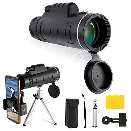 Monokulare Teleskop 40x60, Dyna-Living [Verbessert] BAK4 HD Optics Prisma Monokulare mit Zwei Fokussierungen und Tag- und Nachtsicht/Kompass/Smartphone-Halter/Stativ für Vogelbeobachtung/Besichtigung