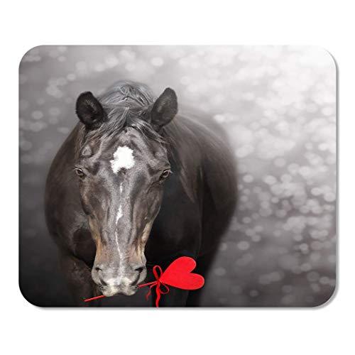 N\A Mousepad Computadora Bloc de Notas Oficina Rojo Divertido Caballo Negro Corazón San Valentín Gris Día Lindo Hogar Escuela Juego Jugador Computadora Trabajador Pulgada