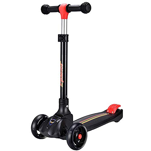 FEPDW Scooter for Kids with LED Light Up Wheels Adjustable Height Kick Scooters for Boys and Girls Lightweight Folding Light Up Kids Scooter