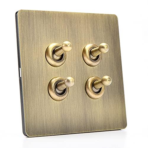 Jqchw 86 Interruptor de Palanca intermedio Tipo Pared 10A 110-250V 1-4 Gang Interruptor de luz de Palanca de 2 vías Interruptor de Panel de Enchufe Retro para Cocina, Dormitorio, Sala de Estar, etc.