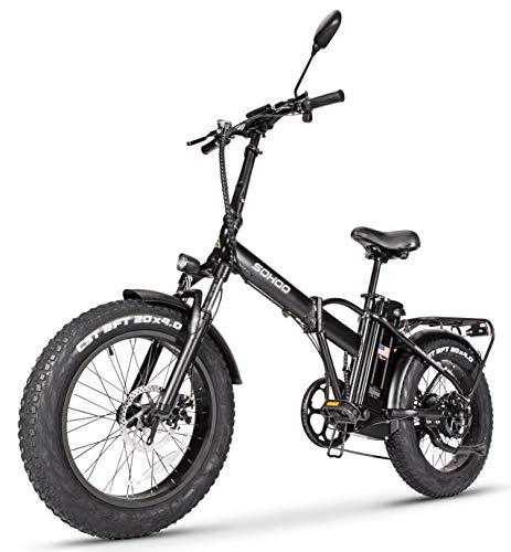 "SOHOO 48V500W12AH 20"" x4.0 Folding Fat Tire Electric Bicycle Mountain E-Bike Removable Battery Foldable Snow Electric Bike"