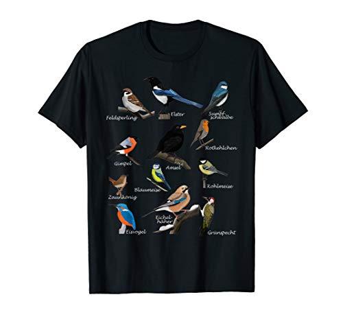 Gartenvögel Vogel Zeichnung Amsel Blaumeise Rotkehlchen T-Shirt